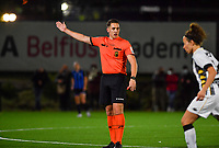 referee Lucas Loockx pictured during a female soccer game between Sporting Charleroi and Club Brugge YLA on the fourth matchday of the 2020 - 2021 season of Belgian Scooore Womens Super League , friday 9 nd of October 2020  in Marcinelle , Belgium . PHOTO SPORTPIX.BE | SPP | DAVID CATRY