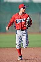 Leonardo Rivas (3) of the Orem Owlz on defense against the Ogden Raptors in Pioneer League action at Lindquist Field on June 27, 2017 in Ogden, Utah. Ogden defeated Orem 14-5. (Stephen Smith/Four Seam Images)