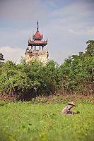 The Watch Tower in the ancient city of Ava, stands on a slant due to an earthquake in the 1800's, Myanmar