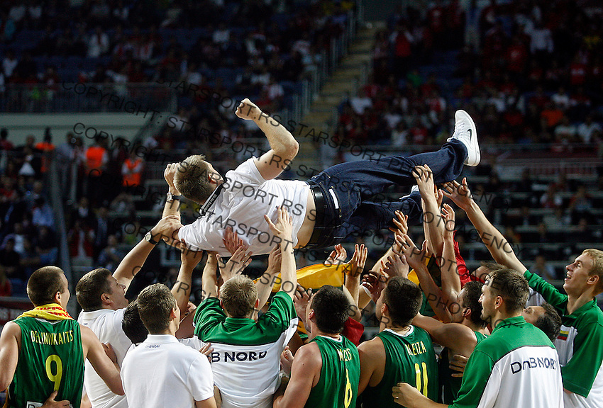 Lithuania players celebrates after victory over Serbia, 3rd Place World championship basketball match in Istanbul, Serbia-Lithuania, Turkey on Sunday, Sep. 12, 2010. (Novak Djurovic/Starsportphoto.com)