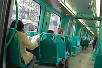 - Milan, interior of a new tramway Sirio Eurotram car ....- Milano, interno di un nuovo tram  Eurotram Sirio