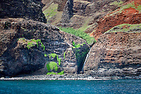 Waterfalls off Napali Coast, Kauai, Hawaii