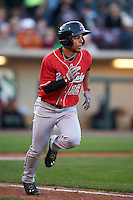 Great Lakes Loons second baseman Kelvin Ramos (12) runs to first during a game against the Dayton Dragons on May 21, 2015 at Fifth Third Field in Dayton, Ohio.  Great Lakes defeated Dayton 4-3.  (Mike Janes/Four Seam Images)