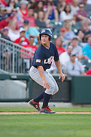 Matt Thaiss (19) of the US Collegiate National Team takes his lead off of third base against the Cuban National Team at BB&T BallPark on July 4, 2015 in Charlotte, North Carolina.  The United State Collegiate National Team defeated the Cuban National Team 11-1.  (Brian Westerholt/Four Seam Images)