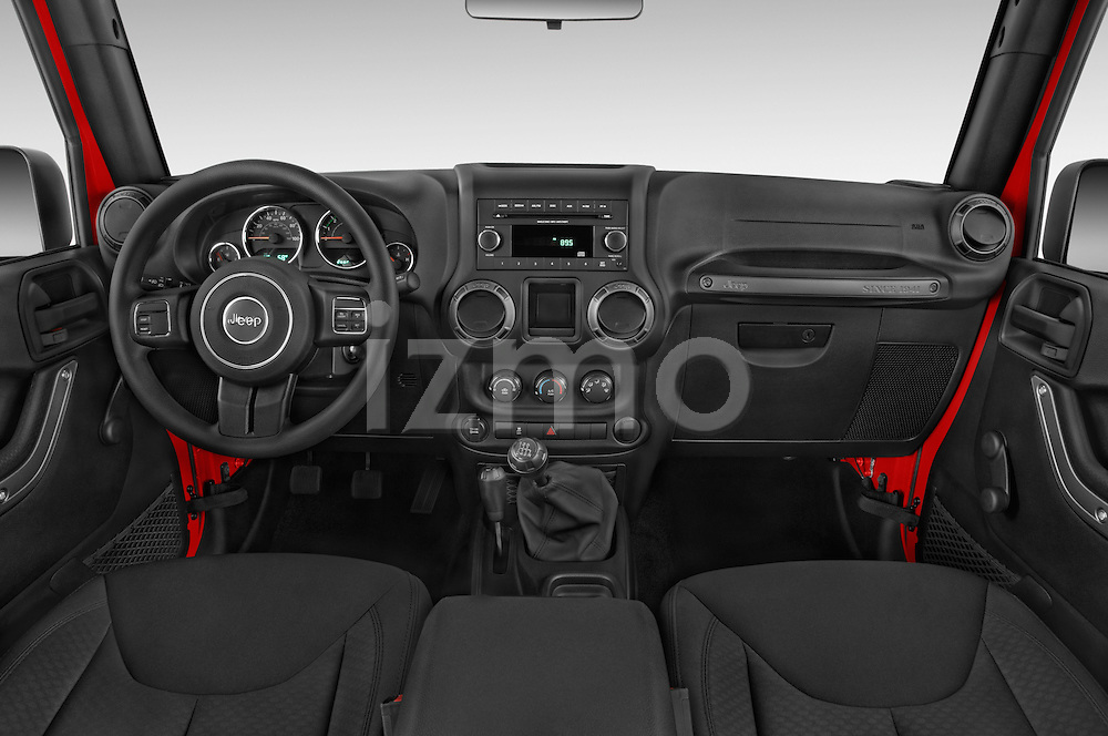 Stock photo of straight dashboard view of a 2015 JEEP Wrangler Unlimited Sport 5 Door Sport Utility Vehicle Dashboard