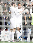 Real Madrid's Danilo Luiz da Silva (r) and Garet Bale celebrate goal during La Liga match. December 20,2015. (ALTERPHOTOS/Acero)