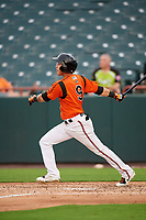 Bowie Baysox shortstop Erick Salcedo (9) follows through on a swing during the first game of a doubleheader against the Trenton Thunder on June 13, 2018 at Prince George's Stadium in Bowie, Maryland.  Trenton defeated Bowie 4-3.  (Mike Janes/Four Seam Images)
