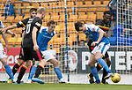 St Johnstone v Partick Thistle…19.08.17… McDiarmid Park… SPFL<br />Joe Shaughnessy tries to back heel the ball into the net but is blocked by Abdul Osman<br />Picture by Graeme Hart.<br />Copyright Perthshire Picture Agency<br />Tel: 01738 623350  Mobile: 07990 594431