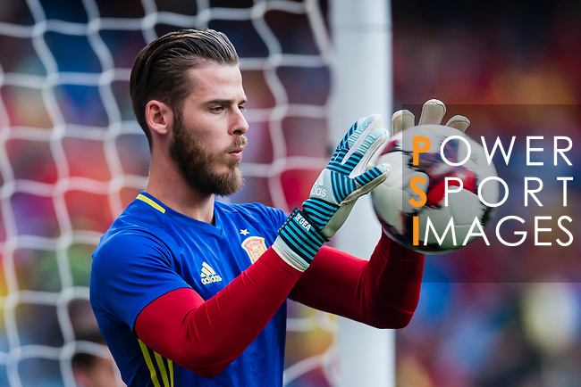 David De Gea of Spain warming up during their 2018 FIFA World Cup Russia Final Qualification Round 1 Group G match between Spain and Italy on 02 September 2017, at Santiago Bernabeu Stadium, in Madrid, Spain. Photo by Diego Gonzalez / Power Sport Images