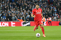 Emre Can of Liverpool during the Capital One Cup match between Liverpool and Manchester City at Wembley Stadium, London, England on 28 February 2016. Photo by David Horn / PRiME Media Images.