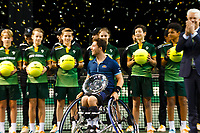Rotterdam, The Netherlands, 15 Februari 2020, ABNAMRO World Tennis Tournament, Ahoy, <br /> Wheelchair Final: Alfie Hewett (GBR) celebrates his win.<br /> Photo: www.tennisimages.com