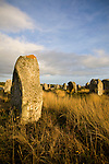 The Megaliths around Carnac, France. The megaliths are a collection of stones that were hewn from local rock and erected by the pre-Celtic people of Brittany. There are over 3,000 stones and they represent the largest collection of its kind in the world.