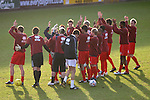 Stockport County 2 Rushden & Diamonds 2, 22/01/2006. Edgeley Park, League Two. Stockport County versus Rushden & Diamonds, Coca-Cola Football League Two at Edgeley Park, Stockport. With the teams occupying the bottom two places in the Football league, points were vital in home club's Jim Gannon's first game in charge as manager. The match ended 2-2. Picture shows visiting players saluting the travelling support after the the pre-match warm up.<br />  Photo by Colin McPherson.