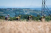 yellow jersey / GC leader Adam Yates (GBR/Mitchelton-Scott) rolling along with the mighty Alps as a backdrop<br /> <br /> Stage 5: Boën-sur-Lignon to Voiron (201km)<br /> 71st Critérium du Dauphiné 2019 (2.UWT)<br /> <br /> ©kramon