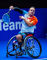 Alphen aan den Rijn, Netherlands, December 15, 2018, Tennispark Nieuwe Sloot, Ned. Loterij NK Tennis, Wheelchair men's semifinal:  Tom Egberink (NED)<br /> Photo: Tennisimages/Henk Koster
