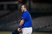 AZL Cubs catcher Marcus Mastrobuoni (5) laughs during a game against the AZL Angels on August 31, 2017 at Sloan Park in Mesa, Arizona. AZL Cubs defeated the AZL Angels 9-2. (Zachary Lucy/Four Seam Images)