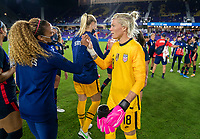 ORLANDO, FL - FEBRUARY 24: Casey Krueger #2 and Jane Campbell #18 of the USWNT shake hands after a game between Argentina and USWNT at Exploria Stadium on February 24, 2021 in Orlando, Florida.