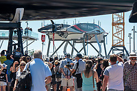 13th March 2021; Waitemata Harbour, Auckland, New Zealand;  Emirates Team New Zealand roll Te Rehutai out of the shed for day three of the America's Cup presented by Prada.