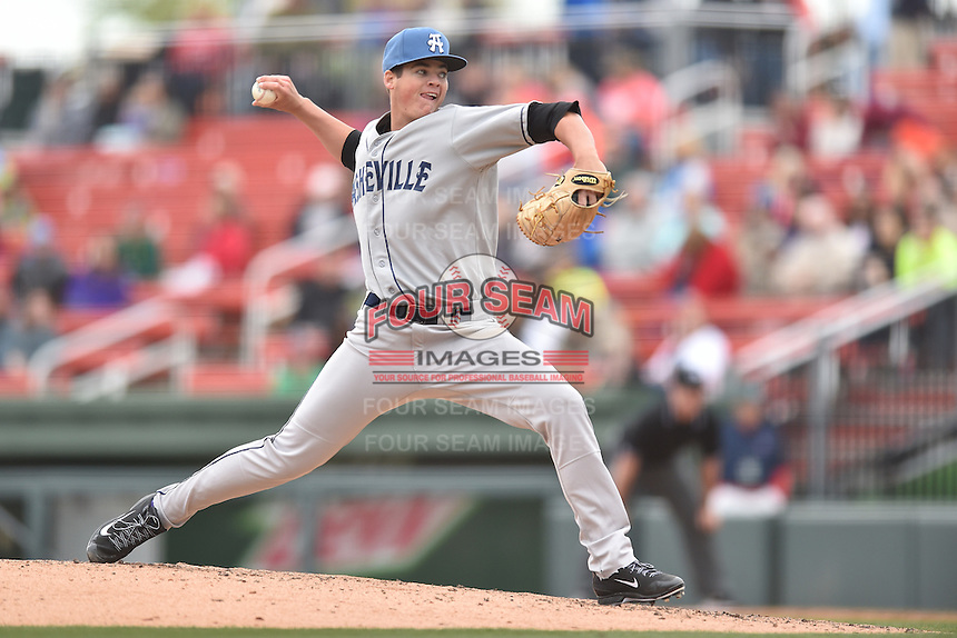 Asheville Tourists starting pitcher Peter Lambert (24) delivers a pitch during a game against the  Greenville Drive at Fluor Field on April 10, 2016 in Greenville South Carolina. The Drive defeated the Tourists 7-4. (Tony Farlow/Four Seam Images)