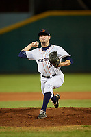 Bowling Green Hot Rods relief pitcher Simon Rosenblum-Larson (18) delivers a pitch during a game against the Peoria Chiefs on September 15, 2018 at Bowling Green Ballpark in Bowling Green, Kentucky.  Bowling Green defeated Peoria 6-1.  (Mike Janes/Four Seam Images)
