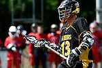 GER - Hannover, Germany, May 30: During the Men Lacrosse Playoffs 2015 match between HTHC Hamburg (black) and DHC Hannover (red) on May 30, 2015 at Deutscher Hockey-Club Hannover e.V. in Hannover, Germany. Final score 17:2. (Photo by Dirk Markgraf / www.265-images.com) *** Local caption *** Justus Paul #13 of HTHC Hamburg
