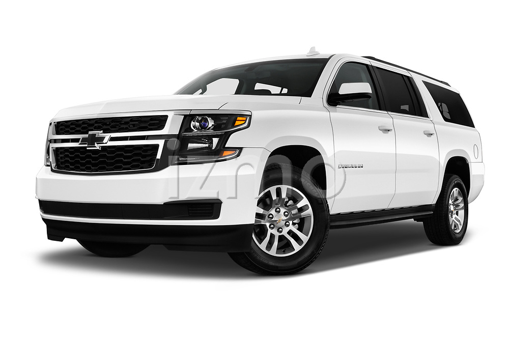 Stock pictures of low aggressive front three quarter view of 2018 Chevrolet Suburban LS 5 Door SUV Low Aggressive