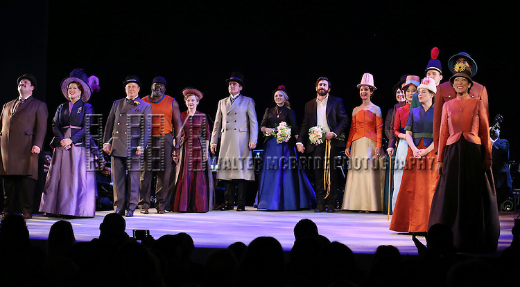 Annaleigh Ashford and Jake Gyllenhaal with the cast during the opening night performance curtain call bows for 'Sunday in the Park with George' at the Hudson Theatre on February 23, 2017 in New York City.