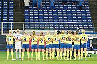 YOKOHAMA, JAPAN - AUGUST 6: Team Sweden standing for the national anthem during a game between Canada and Sweden at International Stadium Yokohama on August 6, 2021 in Yokohama, Japan.