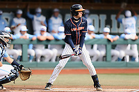 Nic Kent (4) of the Virginia Cavaliers at bat against the North Carolina Tar Heels at Boshamer Stadium on February 27, 2021 in Chapel Hill, North Carolina. (Andy Mead/Four Seam Images)