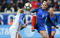 Harrison, N.J. - Sunday March 04, 2018: Abby Dahlkemper, Eugénie Le Sommer during a 2018 SheBelieves Cup match between the women's national teams of the United States (USA) and France (FRA) at Red Bull Arena.