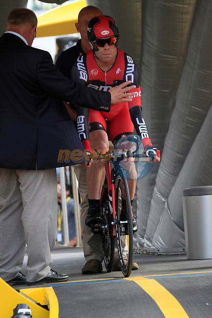 Cadel Evans (AUS) BMC Racing Team on the start ramp of the Prologue of the 99th edition of the Tour de France 2012, a 6.4km individual time trial starting in Parc d'Avroy, Liege, Belgium. 30th June 2012.<br /> (Photo by Eoin Clarke/NEWSFILE)