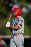 Clearwater Threshers Alec Bohm (40) walks to the plate during a Florida State League game against the Dunedin Blue Jays on May 11, 2019 at Jack Russell Memorial Stadium in Clearwater, Florida.  Clearwater defeated Dunedin 9-3.  (Mike Janes/Four Seam Images)