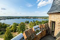 Blick vom Flatow-Turm auf den Tiefen See, Park Babelsberg, Potsdam, Brandenburg, Deutschland