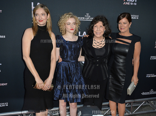 """Judy Greer, Julia Garner, Lily Tomlin & Marcia Gay Harden at the premiere of their movie """"Grandma"""", the opening movie of the Los Angeles Film Festival, at the Regal Cinema LA Live.<br /> June 11, 2015  Los Angeles, CA<br /> Picture: Paul Smith / Featureflash"""