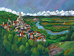 """""""Dordogne Valley; Last Day of Summer""""<br /> Limited Edition Giclee<br /> <br /> SN Paper 26.5 x 20 $1,150<br /> AP Canvas 30x40 $1,959<br /> <br /> The idyllic Dordogne Valley in France should be one of the wonders of the world. The little boy flying his kite on the hillside is enjoying the last day of summer!"""