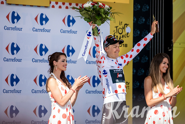 Tom Skujins (LAT/Trek Segafredo) receiving the Polka Dot Jersey.<br /> <br /> Stage 5: Lorient > Quimper (203km)<br /> <br /> 105th Tour de France 2018<br /> ©kramon