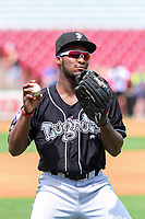 Lansing Lugnuts outfielder Chavez Young (2) warms up in the outfield prior to a Midwest League game against the Wisconsin Timber Rattlers on May 8, 2018 at Fox Cities Stadium in Appleton, Wisconsin. Lansing defeated Wisconsin 11-4. (Brad Krause/Four Seam Images)