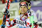 Marco Schwarz competes during the FIS Alpine Ski World Cup Men's Slalom in Madonna di Campiglio, on December 22, 2015. Norway's Henrik Kristoffersen wins ahead of Marcel Hirscher and Marco Schwarz.