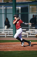 Hunter Haas (7) of Corona Del Sol High School in Phoenix, Arizona during the Baseball Factory All-America Pre-Season Tournament, powered by Under Armour, on January 13, 2018 at Sloan Park Complex in Mesa, Arizona.  (Mike Janes/Four Seam Images)