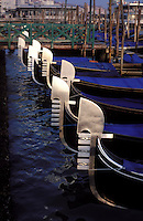 Italy, Venice, Molo San Marco with row of gondolas