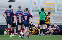 Monday 27th February 2017 | ULSTER SCHOOLS CUP SEMI-FINAL<br /> <br /> Niall Armstrong scores his second try during the Ulster Schools Cup Semi-Final between RBAI and Ballymena Academy  at Kingspan Stadium, Ravenhill Park, Belfast, Northern Ireland. <br /> <br /> Photograph by John Dickson | www.dicksondigital.com