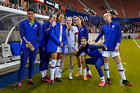HOUSTON, TX - FEBRUARY 03: Adrianna Franch #12, Andi Sullivan #6, Lynn Williams #13, Rose Lavelle #16, Kelly O'Hara #5, Megan Rapinoe #15 and Becky Sauerbrunn #4 of the United States all pose before a game between Costa Rica and USWNT at BBVA Stadium on February 03, 2020 in Houston, Texas.