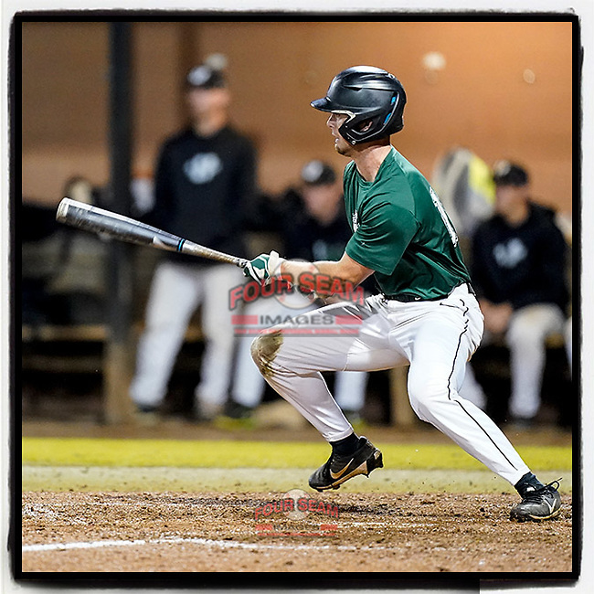 Jeff Taylor (19) of the University of South Carolina Spartans Green team knocks in the first run in sixth inning of the Green and Black Fall World Series Game 4 on Wednesday, November 4, 2020, at Cleveland S. Harley Park in Spartanburg, South Carolina. Green won, 8-0. (Tom Priddy/Four Seam Images)