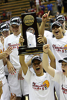 BERKELEY, CA - MARCH 30: Jillian Harmon, Lindy LaRocque, Jayne Appel, Nneka Ogwumike, Ashley Cimino, Kayla Pedersen, Sarah Boothe, Morgan Clyburn, Michelle Harrison, Ros Gold-Onwude and Grace Mashore pose with the regional champions trophy following Stanford's 74-53 win against the Iowa State Cyclones on March 30, 2009 at Haas Pavilion in Berkeley, California.