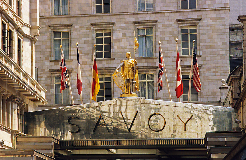 London. Canopy over the entrance to the famous Savoy Hotel, opened in 1889.  England..