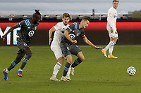 ST PAUL, MN - NOVEMBER 4: Jan Gregus #8 of Minnesota United FC battles for the ball during a game between Chicago Fire and Minnesota United FC at Allianz Field on November 4, 2020 in St Paul, Minnesota.
