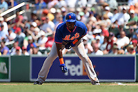 New York Mets outfielder John Mayberry Jr. (44) during a Spring Training game against the Boston Red Sox on March 16, 2015 at JetBlue Park at Fenway South in Fort Myers, Florida.  Boston defeated New York 4-3.  (Mike Janes/Four Seam Images)