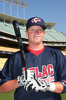 August 9 2008: Brooks Pounders participates in the Aflac All American baseball game for incoming high school seniors at Dodger Stadium in Los Angeles,CA.  Photo by Larry Goren/Four Seam Images