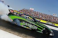 Sept. 22, 2012; Ennis, TX, USA: NHRA funny car driver Alexis DeJoria during qualifying for the Fall Nationals at the Texas Motorplex. Mandatory Credit: Mark J. Rebilas-