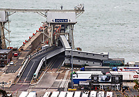 Very little sign of anything other than lorry freight at Dover terminal. No foot passengers or carsappear to be embarking or disembarking with the recent need to self isolate when travelling home from France seemingly hitting Dover hard.<br /> The UK's major cross channel ferry port has been hit TWICE this year. Firstly the continued uncertainty over how Brexitwill affect ourEuropean tradingand now the Covid-19 quarantine restrictions that were put in place a fortnight ago. Dover, Kent, UK September 3rd 2020<br /> <br /> Photo by Keith Mayhew
